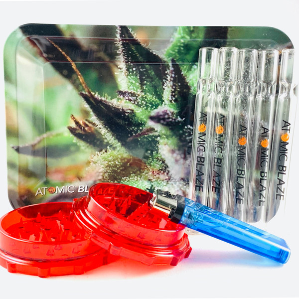 We call this the Atomic Blaze Smoke Shop Standard Bundle. Glass chillums, grinder, metal tray and a lighter. This should get your through the month.