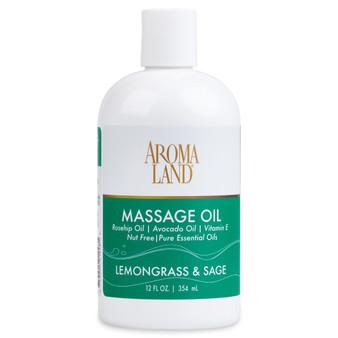 Aromatherapy+ Massage & Body Oil - Lemongrass & Sage 12 oz.