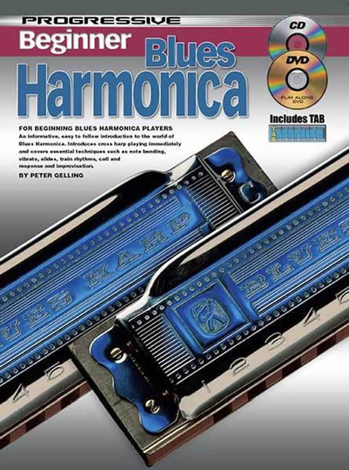 Progressive Beginner Blues Harmonica Book/CD/DVD