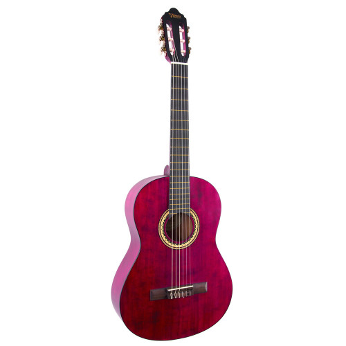 Valencia VC204 4/4 Classical Guitar - Trans Wine Red