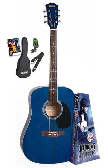 Redding Trans Blue Acoustic Guitar Package