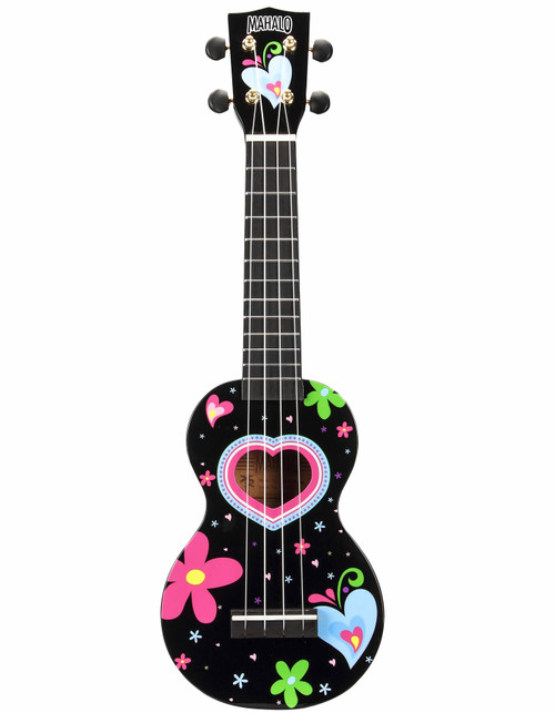 Mahalo Heart & Flowers Art Series Soprano Ukulele