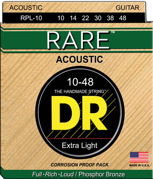 DR Rare RPL-10 Extra Light 10-48 Acoustic Strings