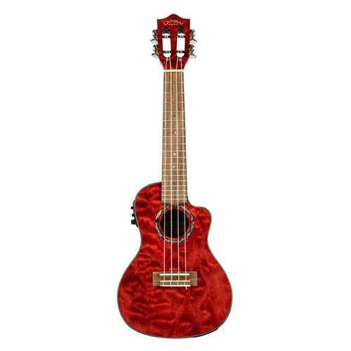 Lanikai Quilted Maple Red Stain Concert Acoustic/Electric Ukulele