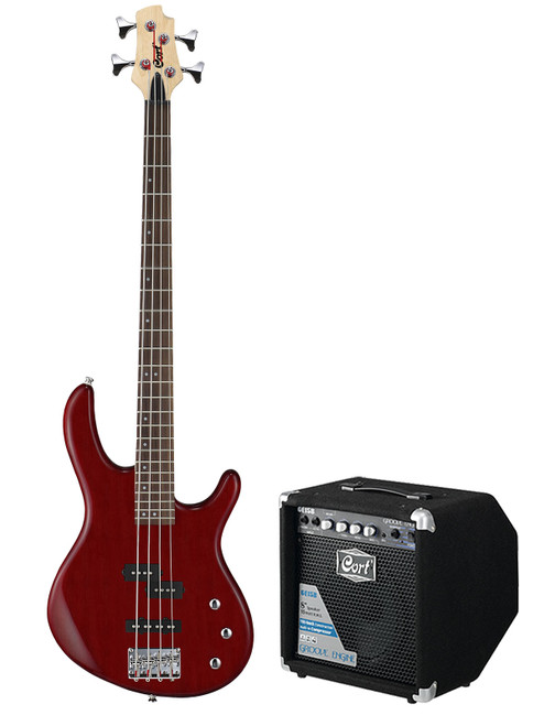 Cort Action Bass Package with 15W Amp - Open Pore Black Cherry