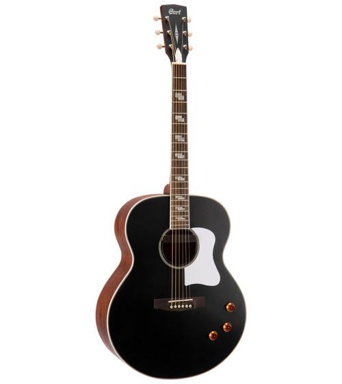 Cort CJ-Retro Jumbo Acoustic - Vintage Black Matte