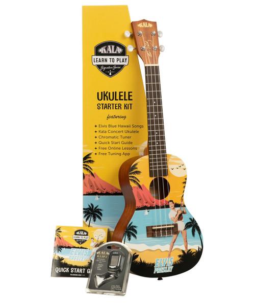 Kala Learn to Play Blue Hawaii Concert Ukulele Starter Kit