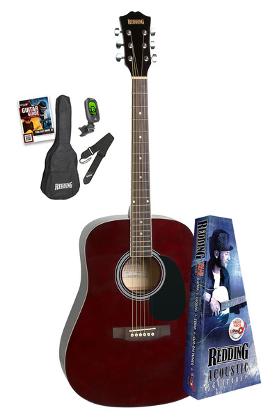 Redding Trans Wine Red Acoustic Guitar Package