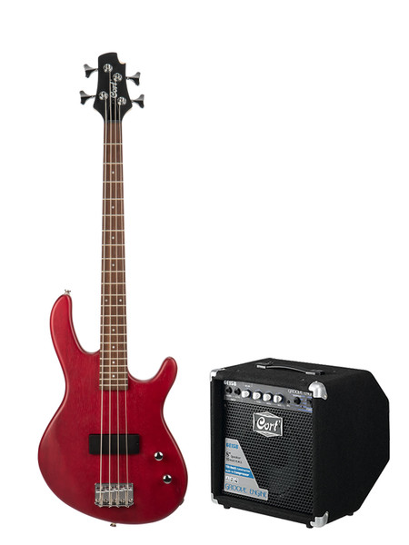 Cort Action Junior Bass Package with 15W Amp - Open Pore Black Cherry