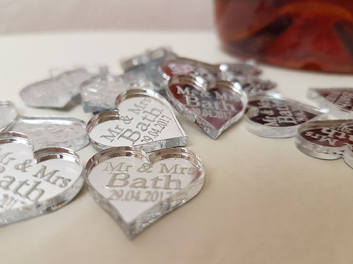 Personalised MR & MRS Love Heart Wedding Table Decorations