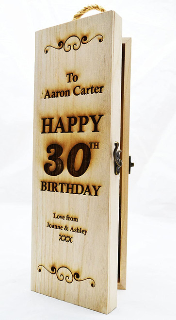 Personalised Engraved Wooden Wine Gift Box Birthday Champagne Prosecco Bottle