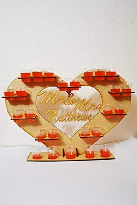 Personalised Wooden Heart Shot Glass Stand