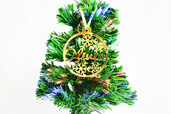 Personalised Gold Mirror Acrylic Christmas Tree Decoration Baubles