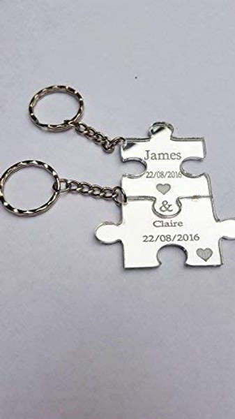 Personalised Jigsaw Puzzle Piece Set for 2 acrylic mirror Keyrings Each Engraved with a Name & Date