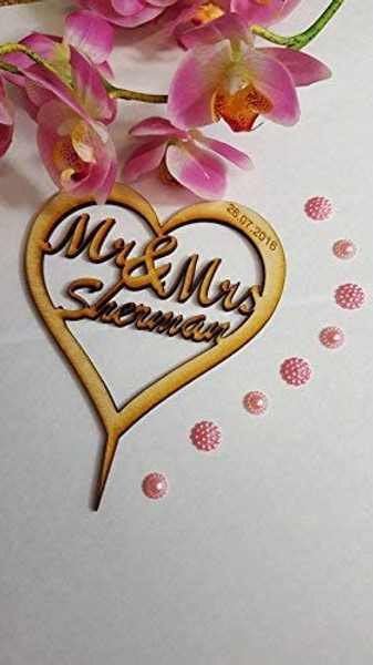 Wooden Heart Personalised Cake Topper. Vintage Weddings, Christening, Rustic, Retro