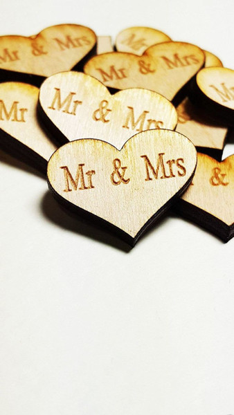 Ginger Ray Heart Wooden Confetti Mr & Mrs