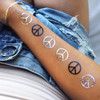 'Peace' metallic gold, silver and black party tat! 