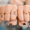 Tiny temporary knuckle tats from @flashtattoos Hailey collection #flashtat
