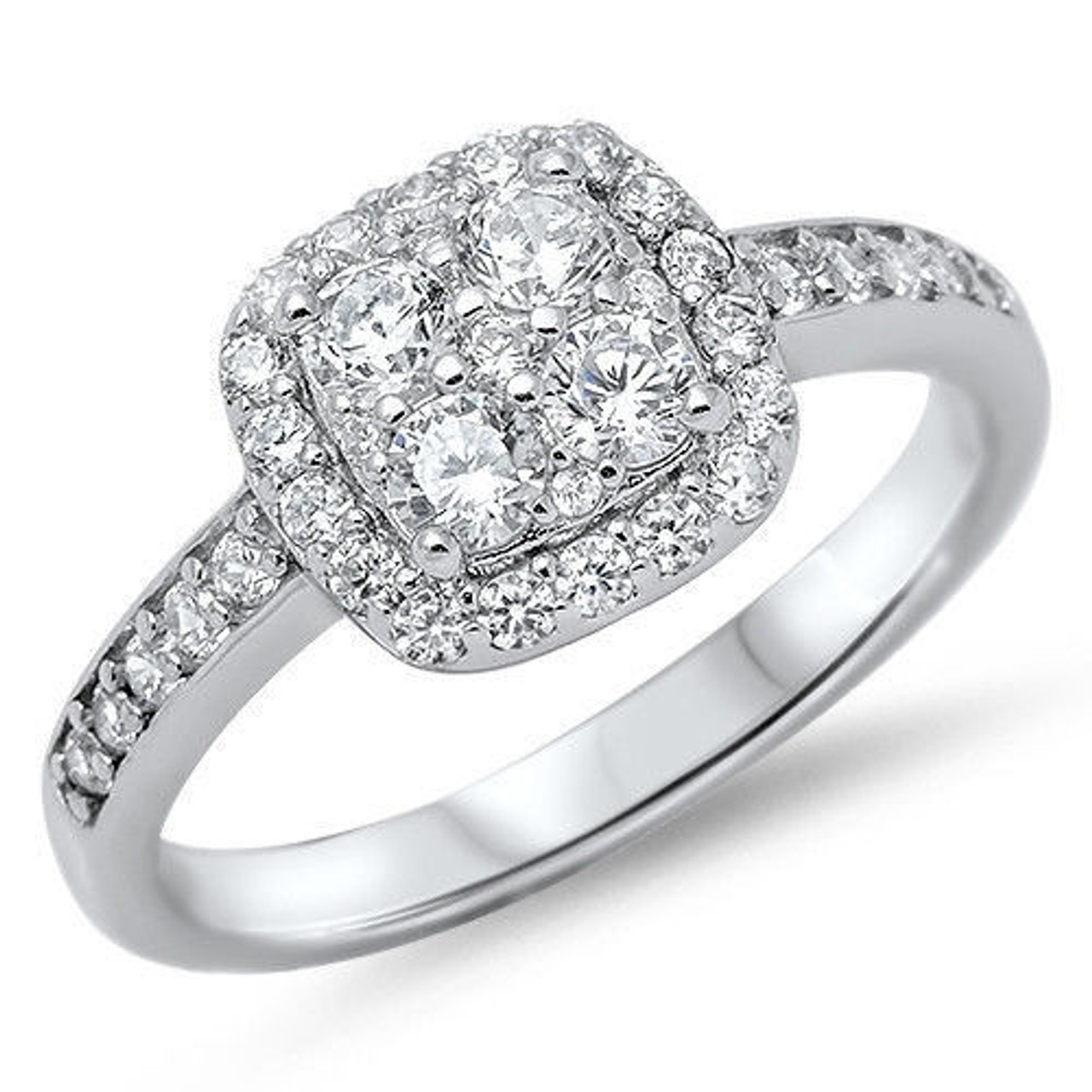 Personalized Quality .925 Sterling Silver Ring with Clear CZ Free Engraving