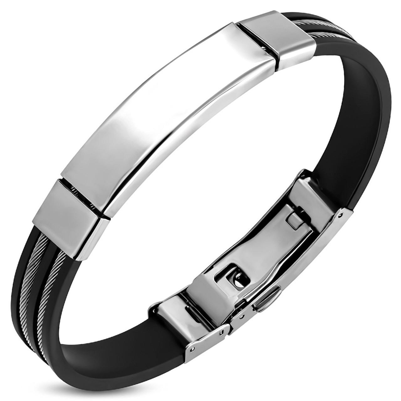Black Rubber Stainless Steel Bracelet