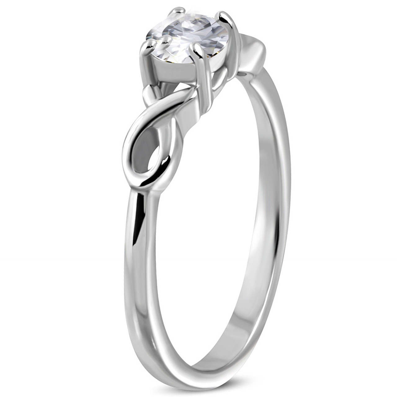 Stainless Steel Prong-Set Round Circle Bypass Fancy Ring with Clear CZ