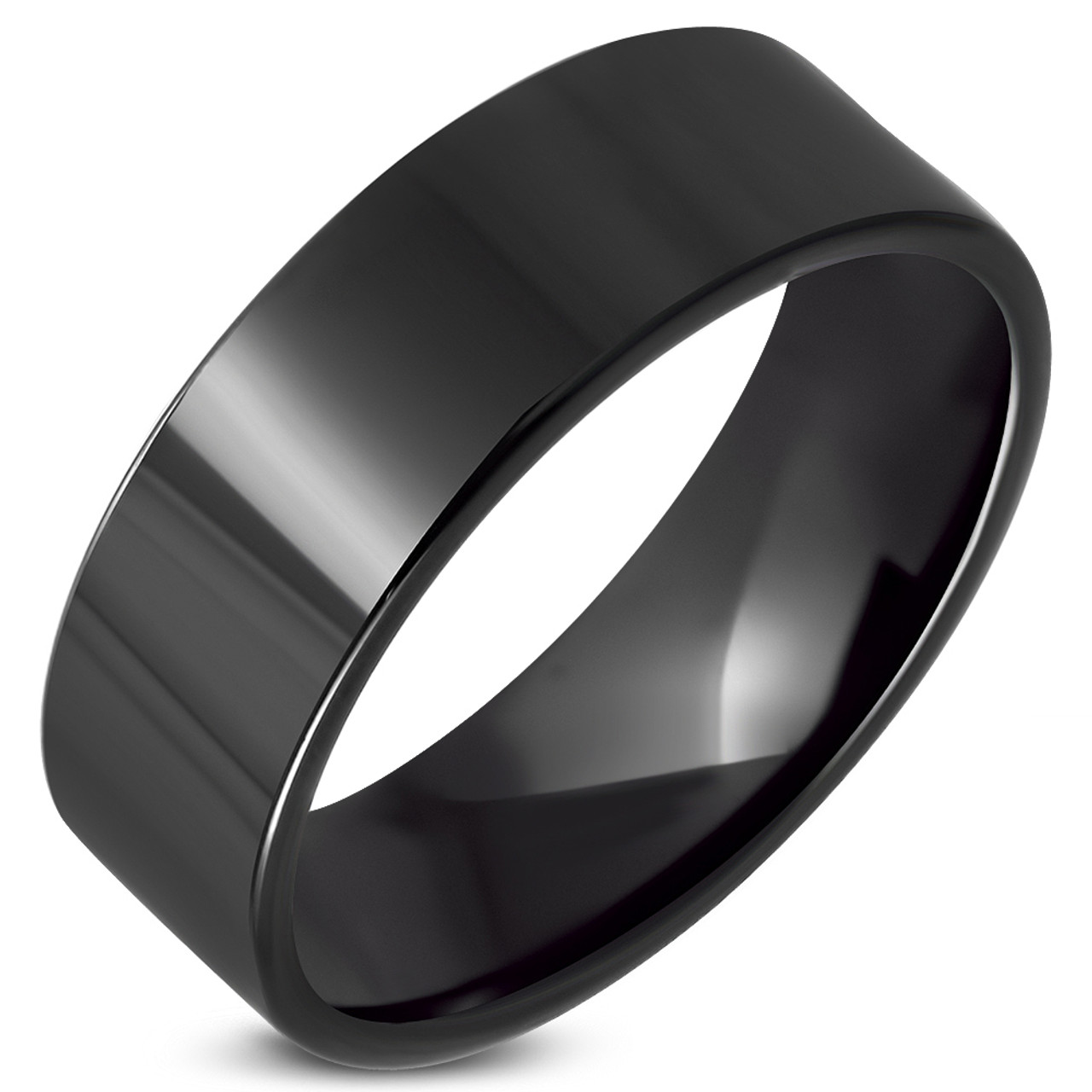 Stainless Steel I Love You Comfort Fit Wedding Flat Band Ring