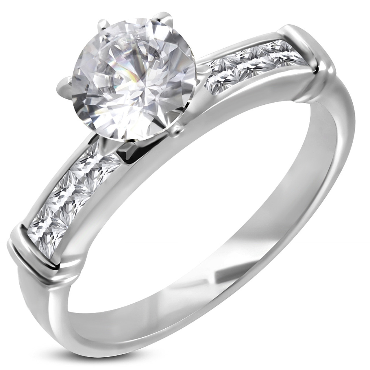 Stainless Steel Gold Color Prong-Set Engagement Ring with Clear CZ