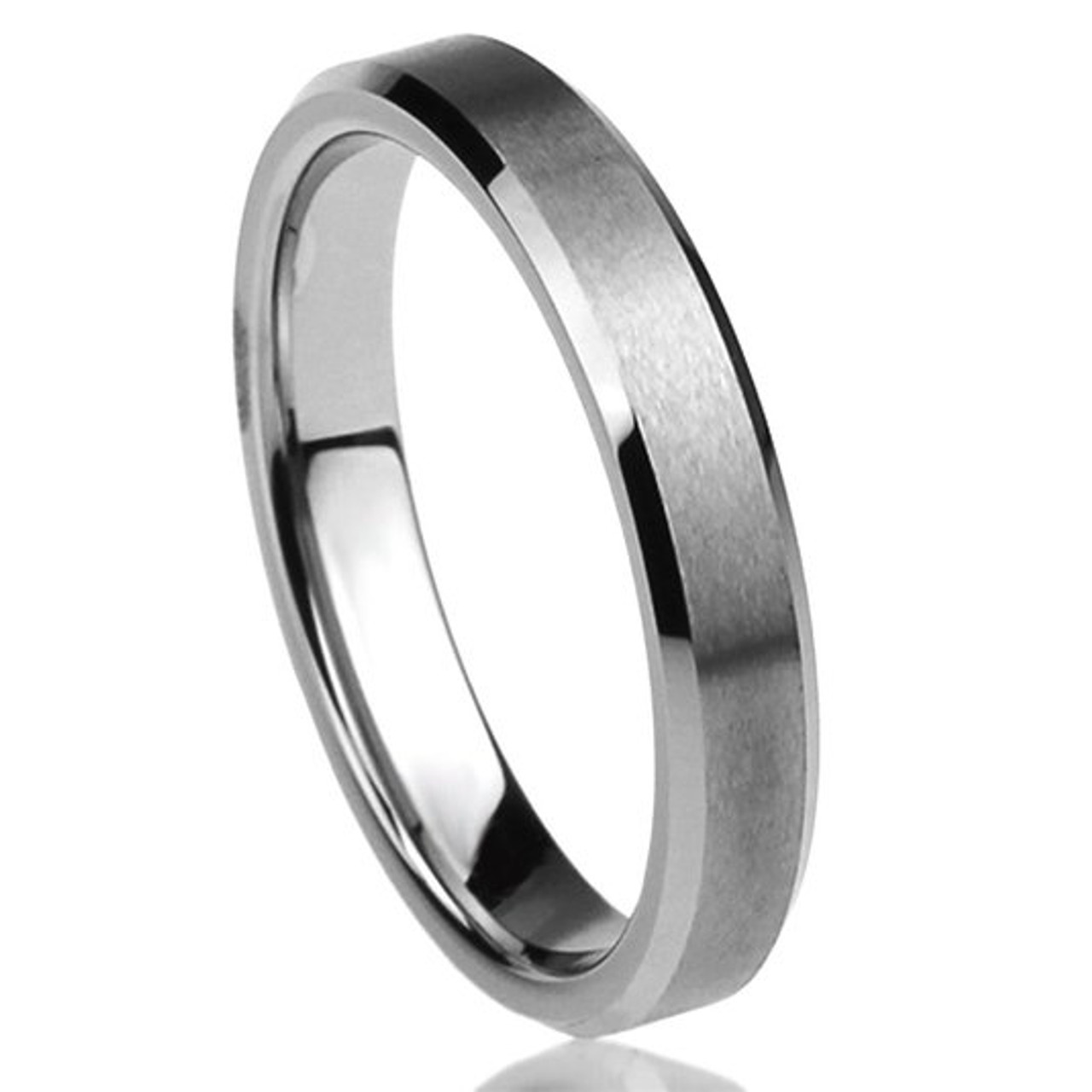Bridal Stainless Steel Flat Beveled Edge 8mm Brushed and Polished Band