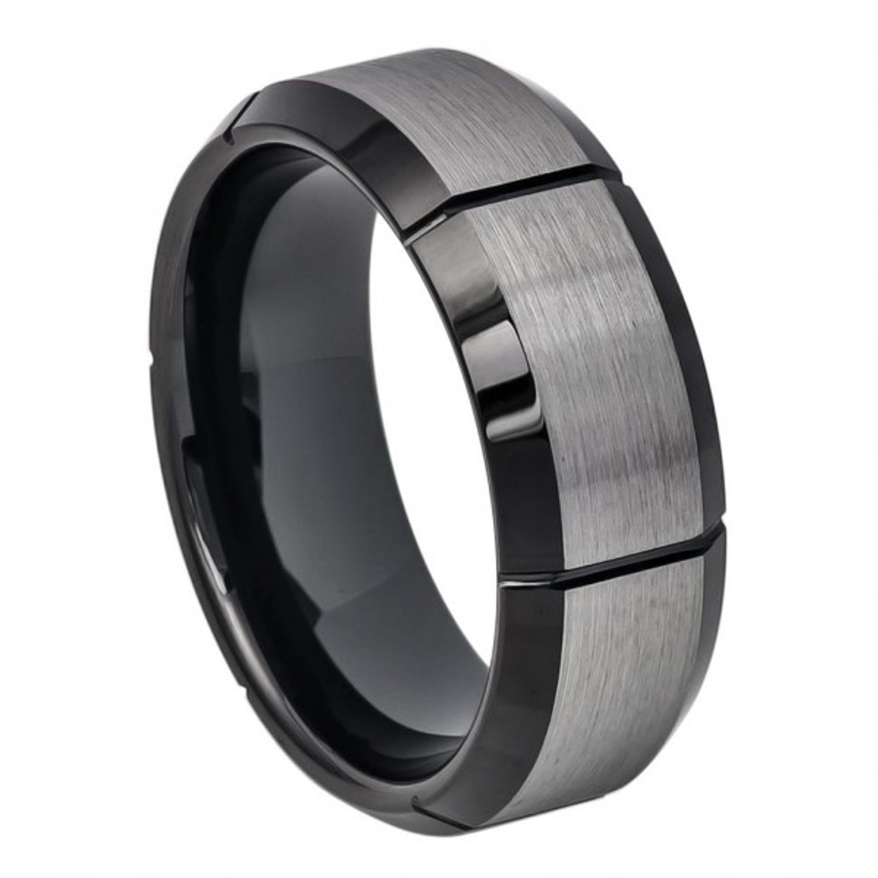 Free Engraving 8mm Tungsten Carbide Two-Tone Black IP Brushed with Steel Color Grooved Center Beveled Edge Wedding Band Ring