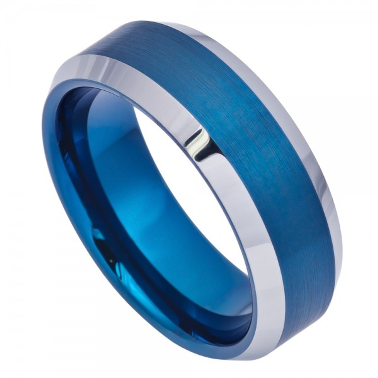 Jewels By Lux Cobalt Sterling Silver Inlay Satin 8mm Flat Band