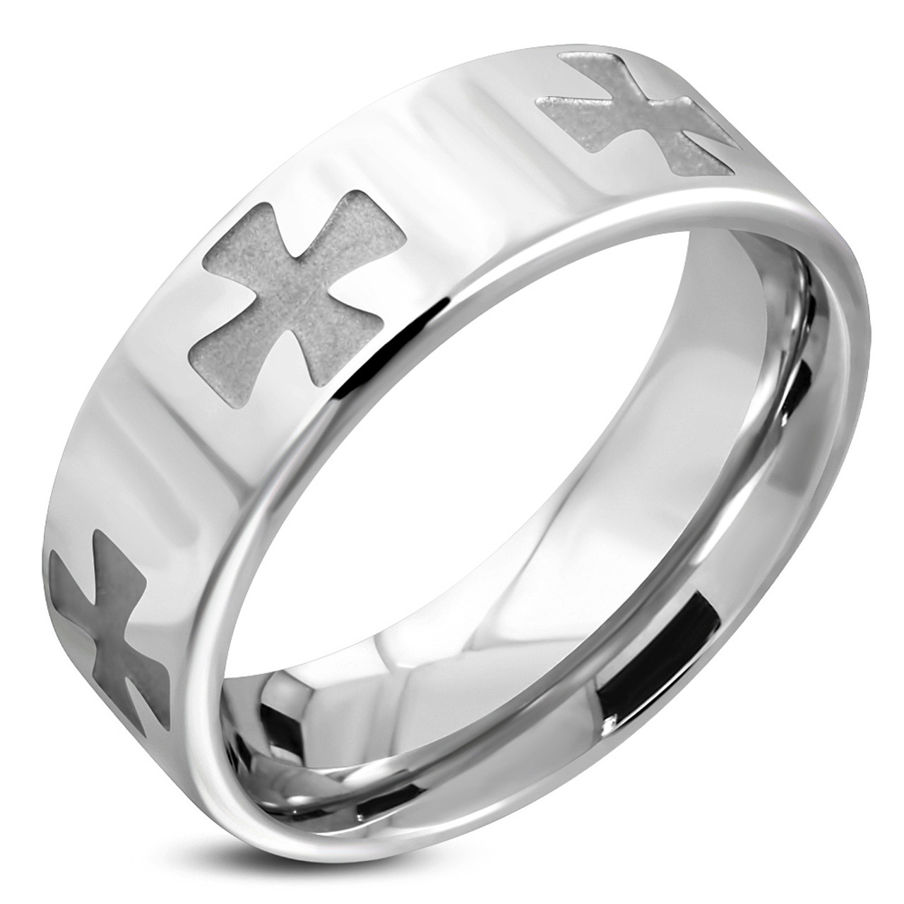 Stainless Steel 2 Color Criss-Cross Milgrain Edge Comfort Fit Wedding Band Ring with Clear CZ