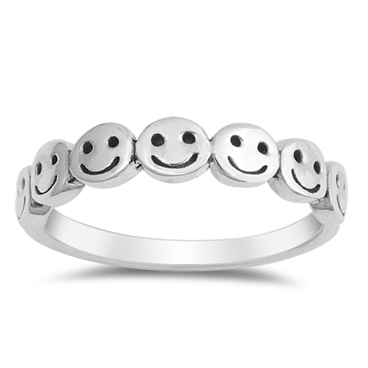 Adjustable Metal Stamped Ring  Smiles Face