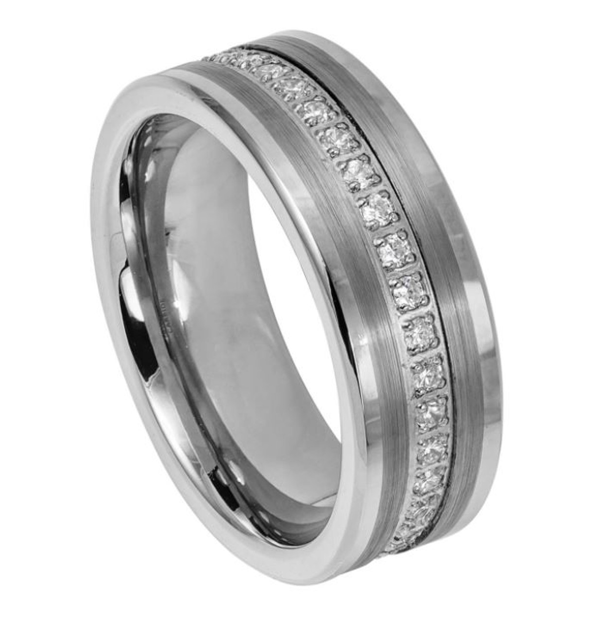 Tungsten Carbide 6mm Wedding Band Polished shiny flat pipe cut style ring