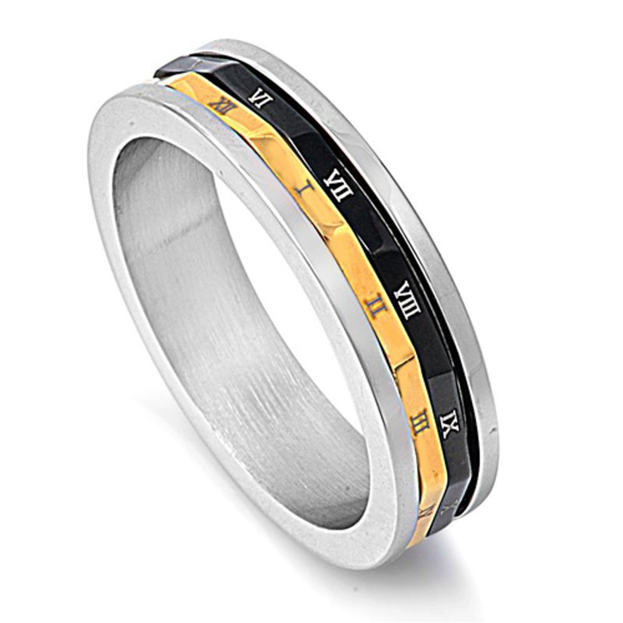 STAINLESS STEEL Ring Band with ROMAN NUMERAL Accents size 12