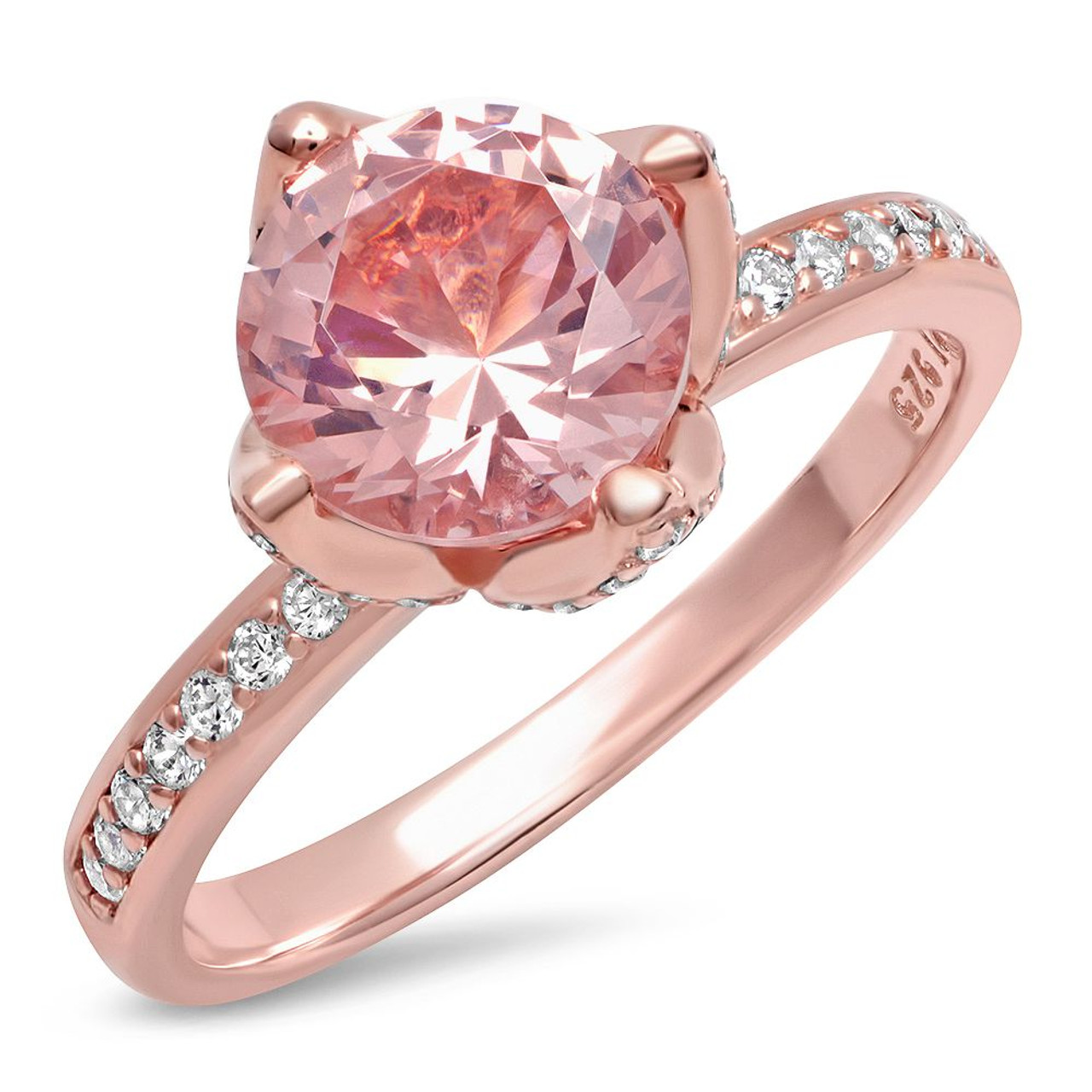 women/'s jewelry Single Lined Stainless Steel Ring Rose Gold IP fashion CZ
