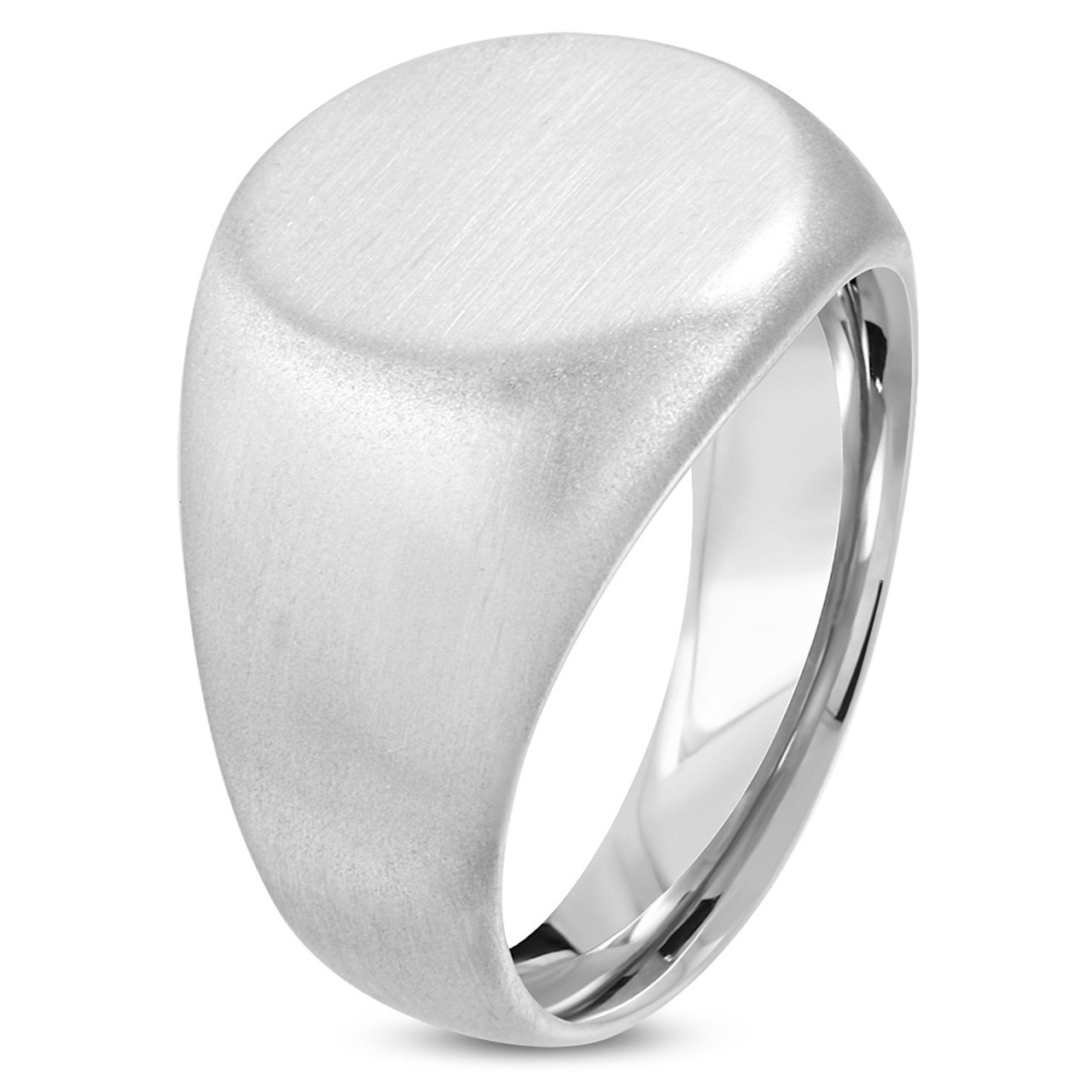 Stainless Steel Signet Ring Band Polished 15 mm Circular Signet Ring