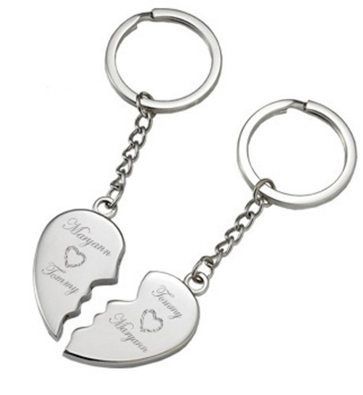 Key Fob Key Ring Personalised Silver Valentines Double Heart Keyring Hearts with Two Names