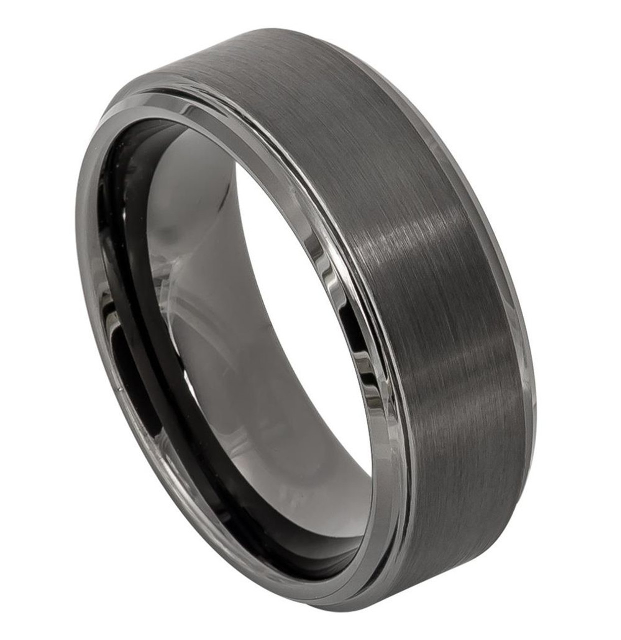 Ring Size 12 Security Jewelers Tungsten 8mm Beveled Band with Satin Center Size 12
