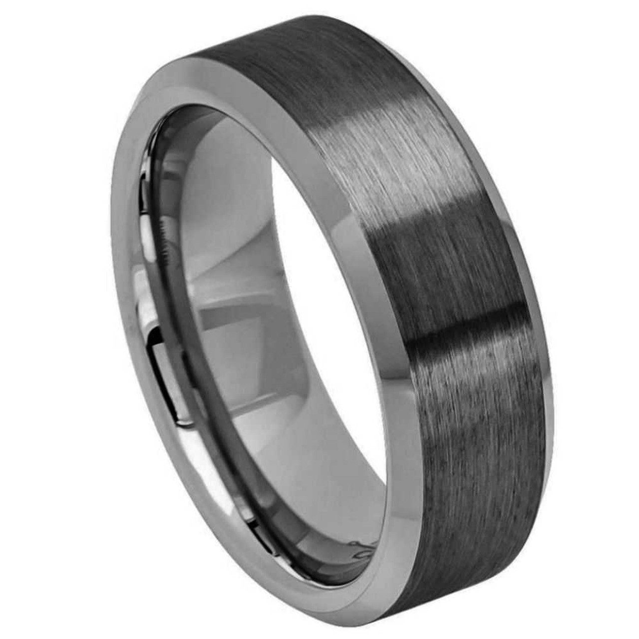 Mens 8mm Tungsten Ring Black IP Plated Brushed Center Shiny Lines on each side Beveled Edge