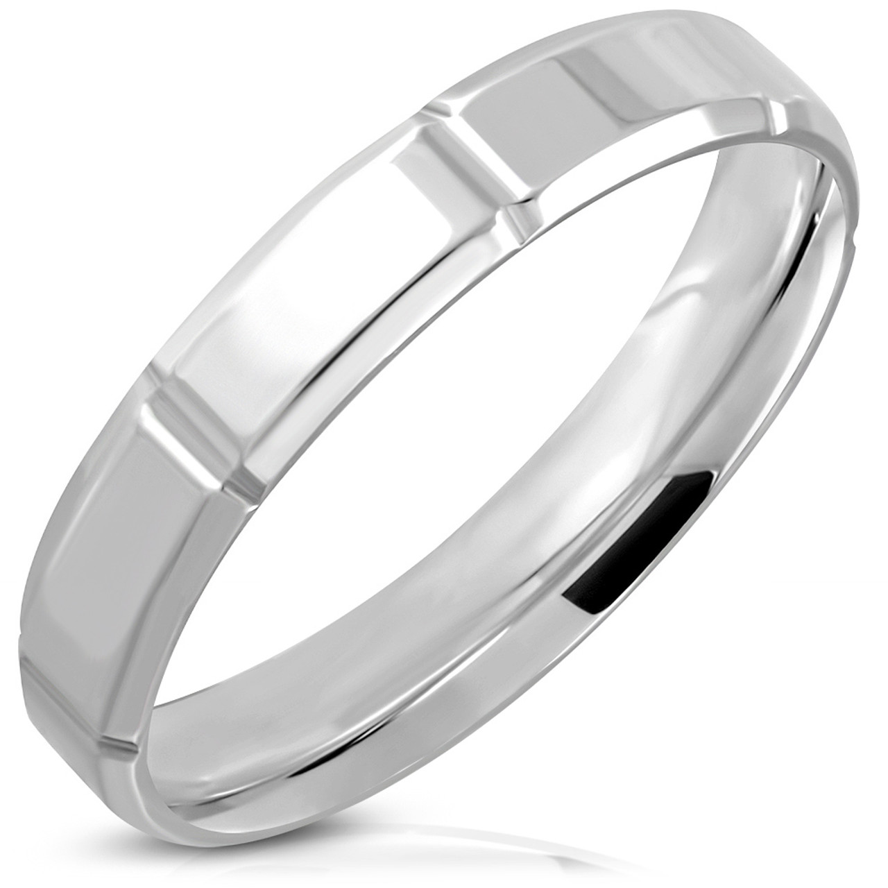 Stainless Steel 2 Color Affirmation-Love Grooved Cross Comfort Fit Wedding Flat Band Ring with Clear CZ