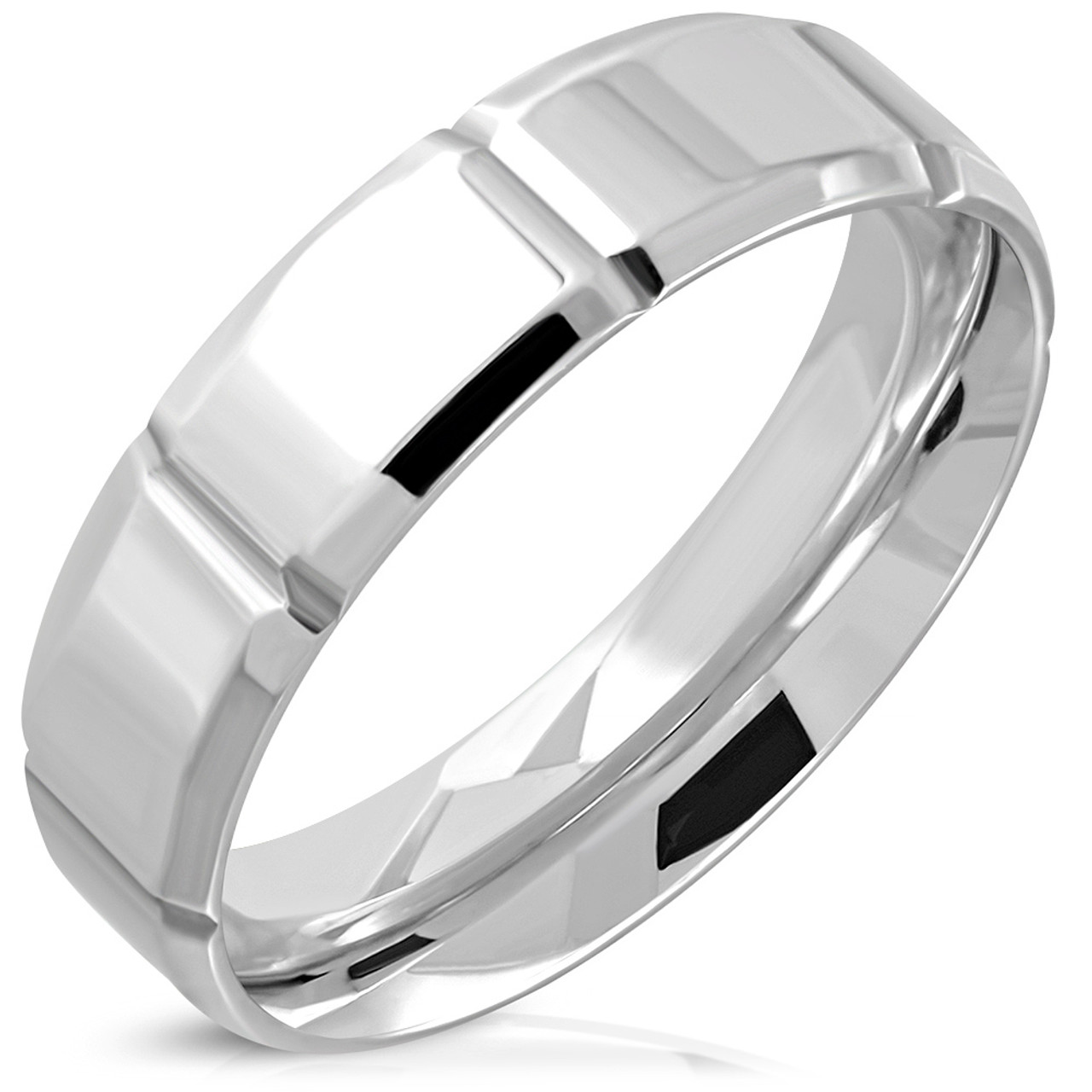 Stainless Steel Polished and Brushed Grooved CZ Ring Size 10.5 Length Width 7