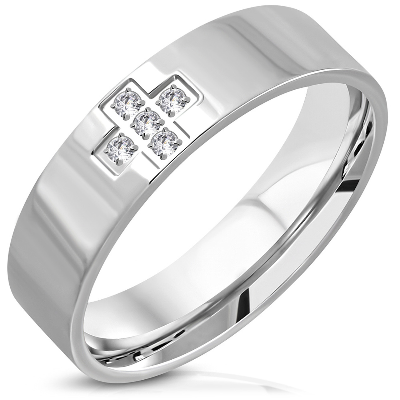 Stainless Steel Matte Finished Comfort Fit Wedding Flat Band Ring with Clear CZ