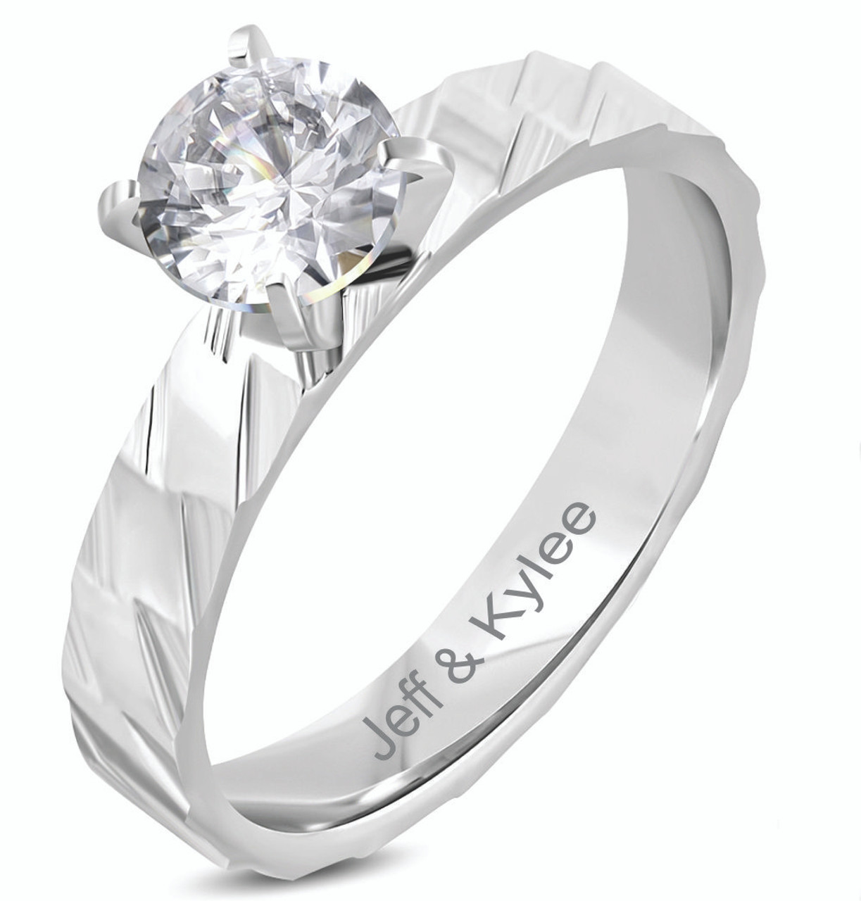 Stainless Steel Plain Half-Round Wedding Band Ring with Clear CZ
