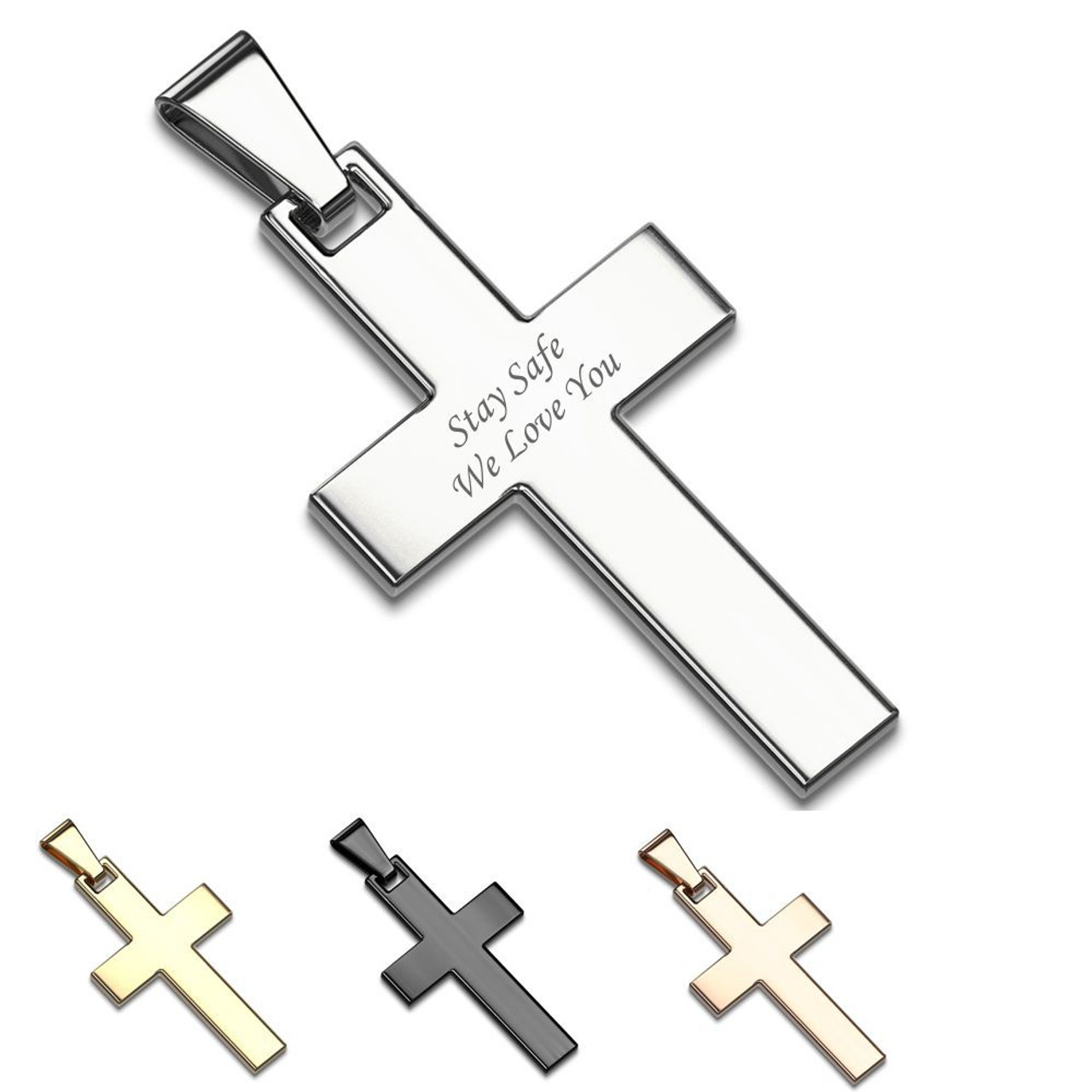 Stainless Steel Polished Black IP Plated Religious Faith Cross Necklace 22 Inch Jewelry Gifts for Women