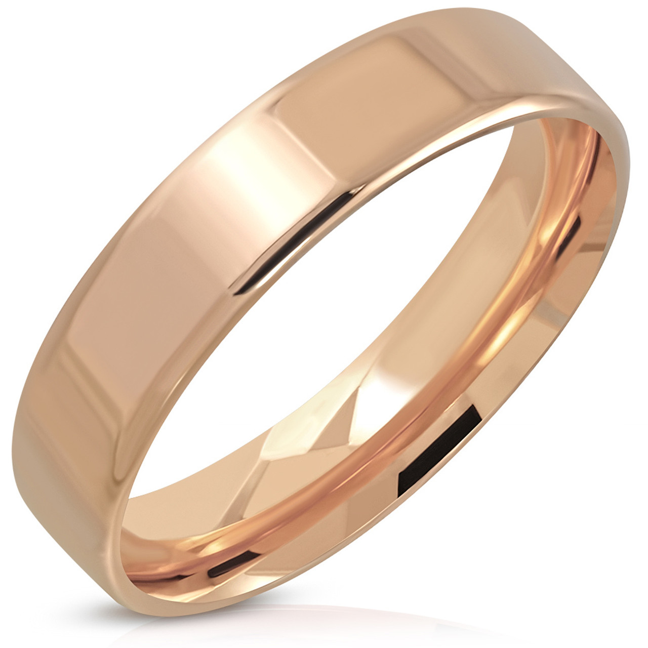 Stainless Steel Gold Color Plated Plain Comfort Fit Half-Round Wedding Band Ring with Clear CZ
