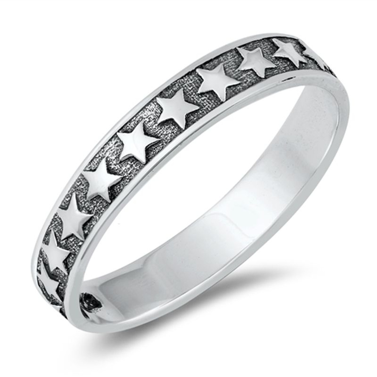 Stainless Steel Matte Finished Comfort Fit Open Ring with Clear CZ