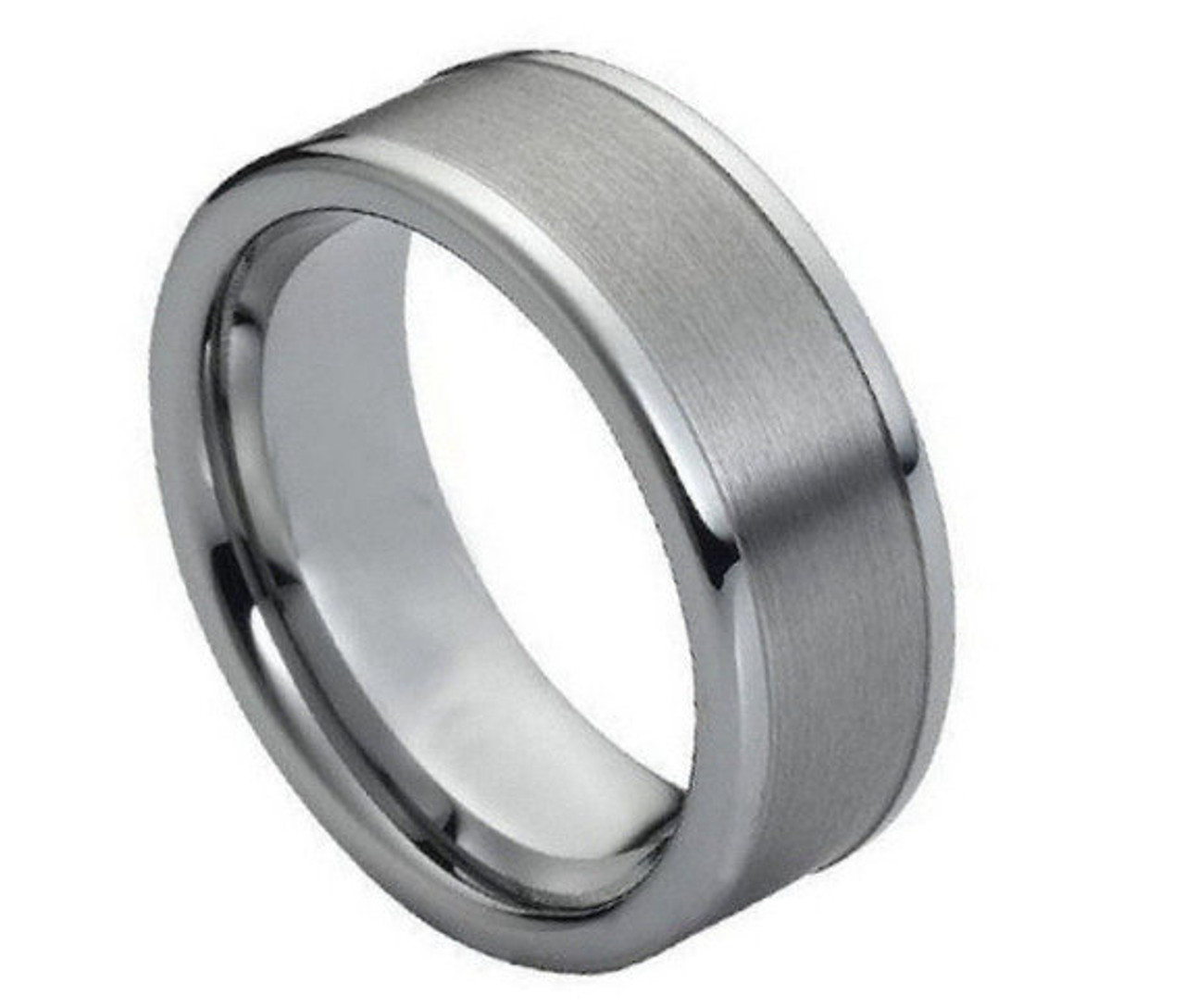 size 8 in Gift Box Highly Polished FACETED TUNGSTEN CARBIDE Wedding Band RING