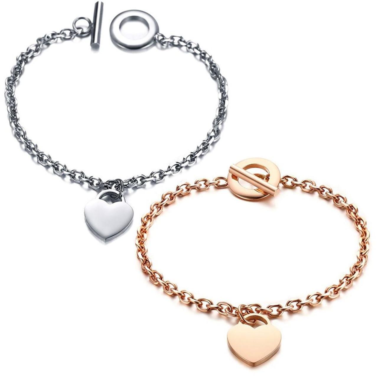 Stainless Steel Christmas Heart Bracelet Free Personalised Engraving /& Gift Box