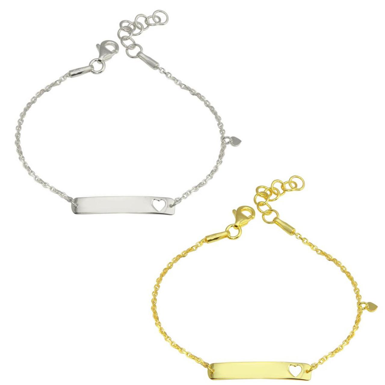 925 Sterling Silver Adjustable Child/'s Baby/'s Christening ID Plate Bracelet