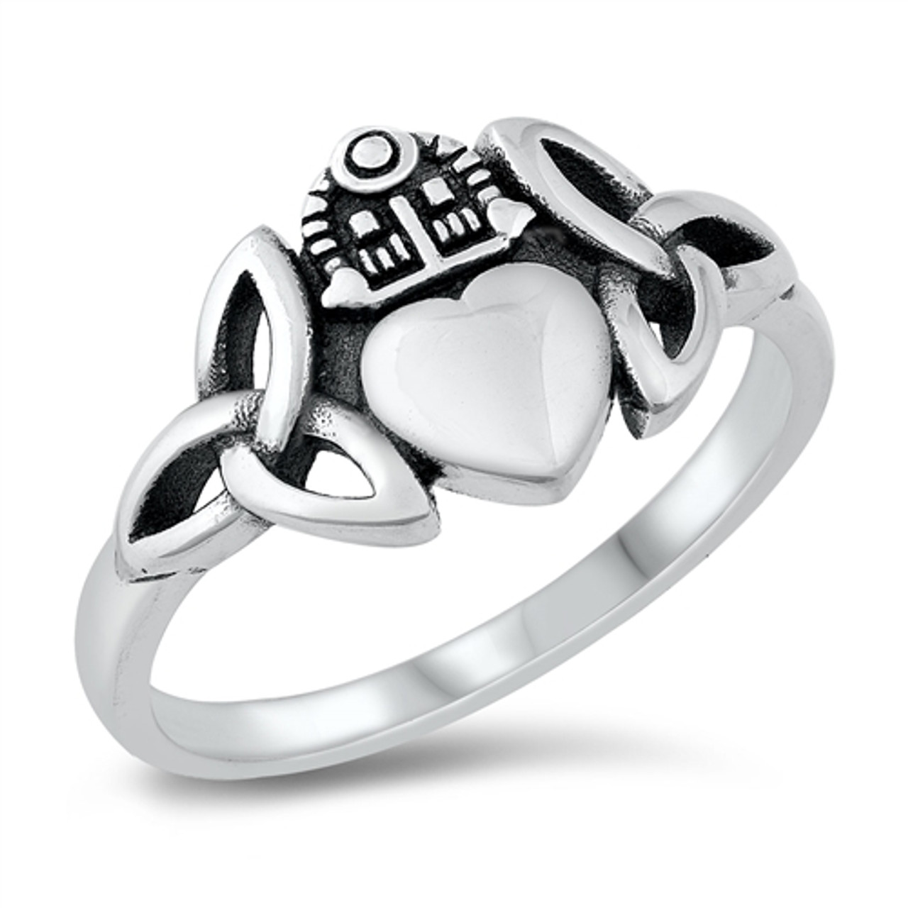 Heart Hands Ring Genuine Sterling Silver 925 High Polish Gift Face Height 7 mm
